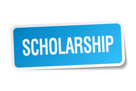 scholarship: scholarship blue square sticker isolated on white