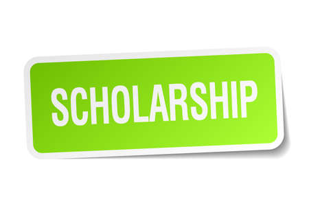 scholarship: scholarship green square sticker on white background