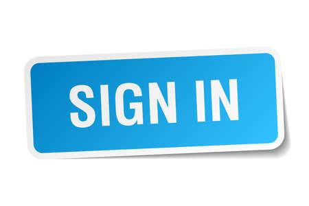 sign in: Zeichen in blauen quadratischen Aufkleber auf wei� Illustration