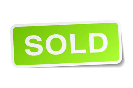 sold: sold green square sticker on white background