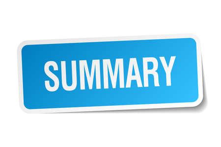 summary: summary blue square sticker isolated on white