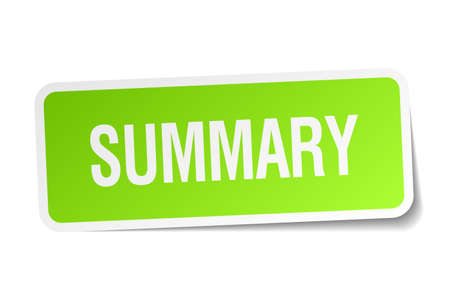 summary green square sticker on white background