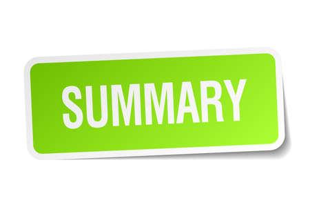 summary: summary green square sticker on white background