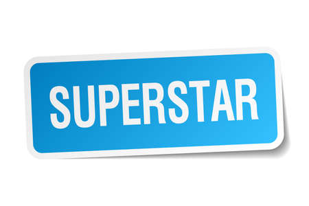 superstar: superstar blue square sticker isolated on white Illustration