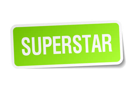 superstar: superstar green square sticker on white background Illustration