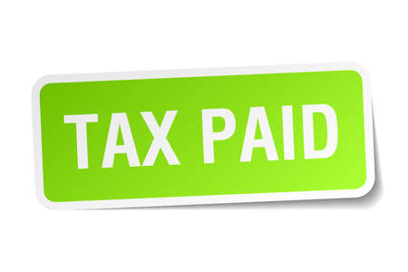 paid: tax paid green square sticker on white background