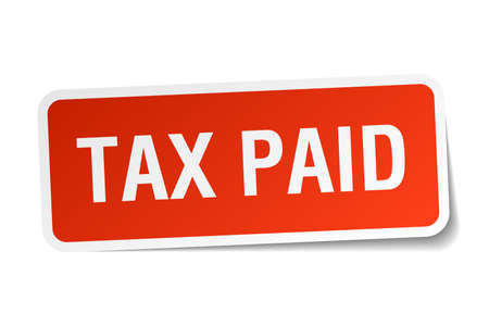 paid: tax paid red square sticker isolated on white Illustration