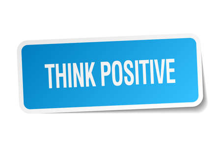 think positive: think positive blue square sticker isolated on white