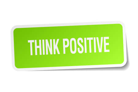 think positive: think positive green square sticker on white background Illustration