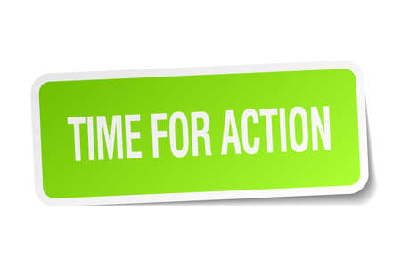 time square: time for action green square sticker on white background