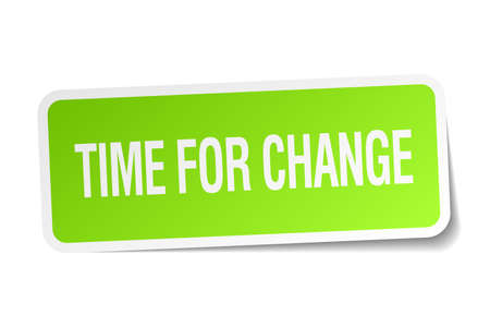 time square: time for change green square sticker on white background