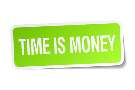 time square: time is money green square sticker on white background