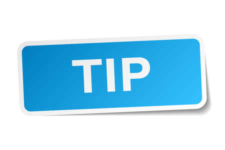 tip: tip blue square sticker isolated on white Illustration