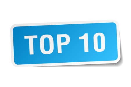 ten best: top 10 blue square sticker isolated on white Illustration