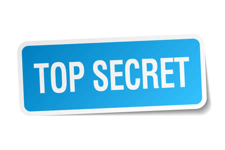 top secret: top secret blue square sticker isolated on white Illustration