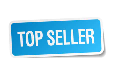 top seller: top seller blue square sticker isolated on white