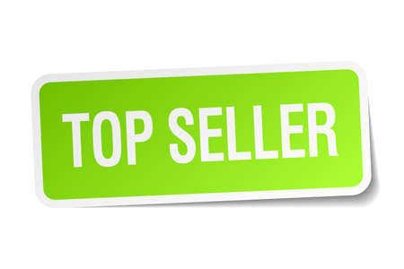 top seller: top seller green square sticker on white background