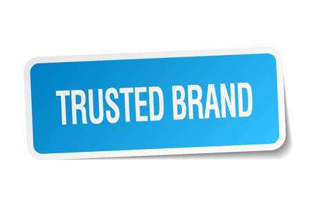 trusted: trusted brand blue square sticker isolated on white