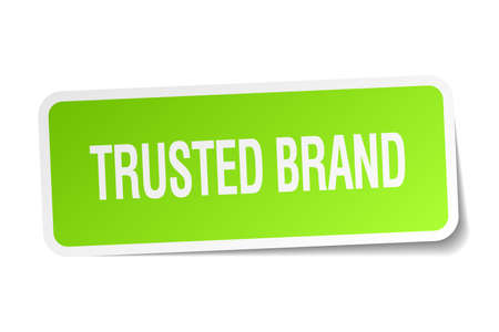 trusted: trusted brand green square sticker on white background Illustration