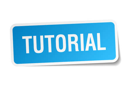 tutorial: tutorial blue square sticker isolated on white