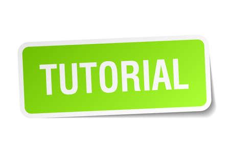 tutorial: tutorial green square sticker on white background Illustration