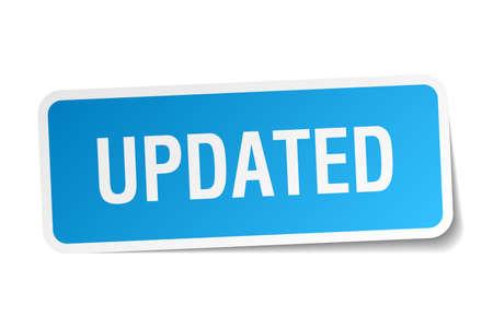 updated: actualizado pegatina cuadrado azul aislado en blanco
