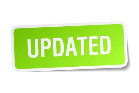 updated: actualizado adhesivo cuadrado verde sobre fondo blanco Vectores