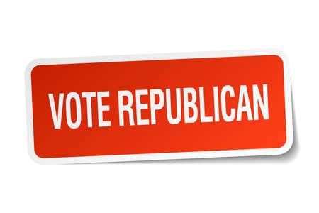 democrats: republicano del voto pegatina cuadrado rojo aislado en blanco