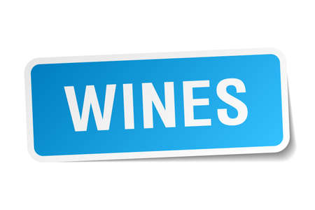 wines: wines blue square sticker isolated on white