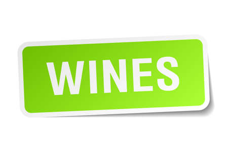 wines: wines green square sticker on white background Illustration