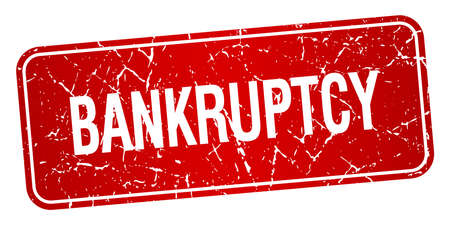 bankruptcy: bankruptcy red square grunge textured isolated stamp Illustration