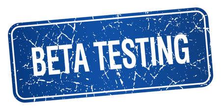 beta: beta testing blue square grunge textured isolated stamp