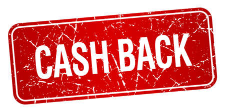 cash back: cash back red square grunge textured isolated stamp