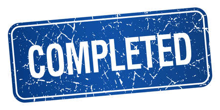 completed: completed blue square grunge textured isolated stamp Illustration