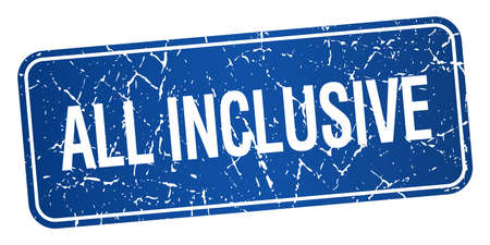 inclusive: all inclusive blue square grunge textured isolated stamp Illustration
