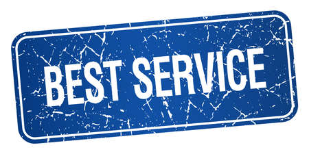 best service: best service blue square grunge textured isolated stamp