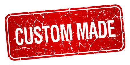 custom made: custom made red square grunge textured isolated stamp