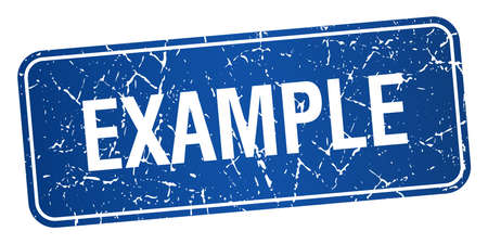 an example: example blue square grunge textured isolated stamp