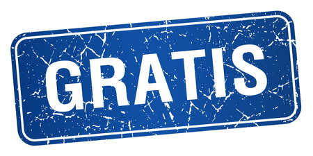 gratis: gratis blue square grunge textured isolated stamp Illustration