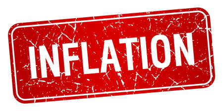 inflation: inflation red square grunge textured isolated stamp