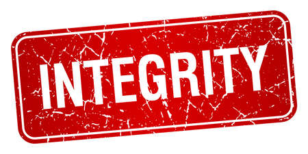 integrity: integrity red square grunge textured isolated stamp