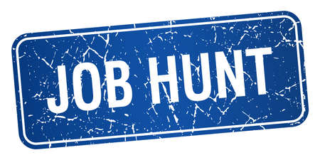 job hunt: job hunt blue square grunge textured isolated stamp