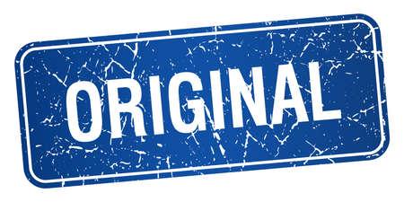 original: original blue square grunge textured isolated stamp Illustration