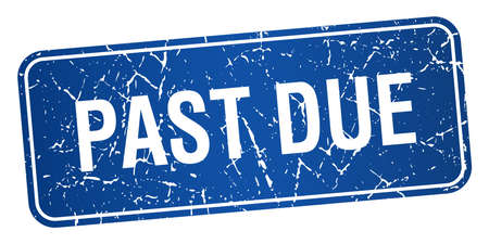 past due: past due blue square grunge textured isolated stamp