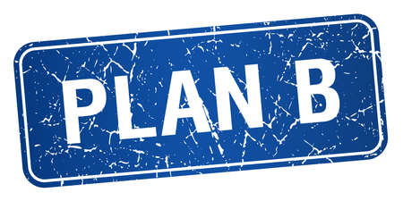 plan b: plan b blue square grunge textured isolated stamp