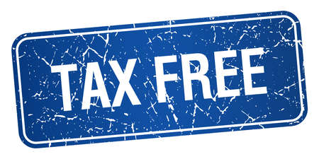 tax free blue square grunge textured isolated stamp Vector