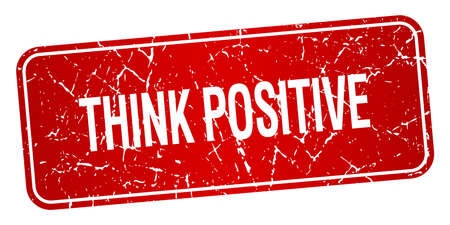think positive: think positive red square grunge textured isolated stamp Illustration
