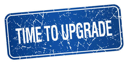 time square: time to upgrade blue square grunge textured isolated stamp
