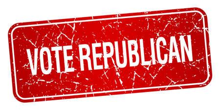 democrats: votar aislado sello republicano cuadrado rojo con textura grunge