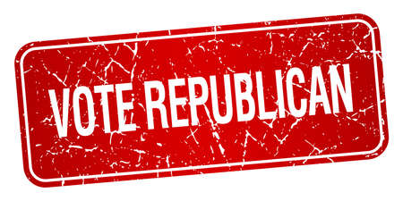 republican: vote republican red square grunge textured isolated stamp